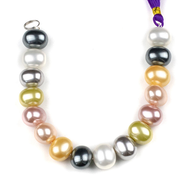 Shell Pearl 13x15mm Egg Beads in a Spring Mix - approx. 8 inch strand