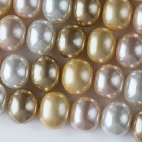 Shell Pearl 13x15mm Egg Beads in a Sunlight Mix - approx. 8 inch strand