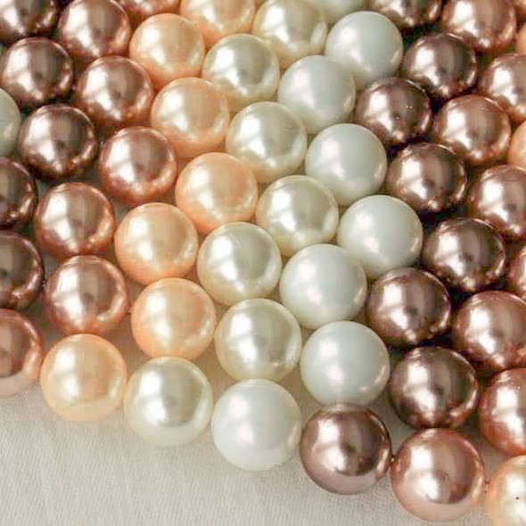 Shell Pearl 10mm Round Beads in a Bronze Mix - approx. 8 inch strand