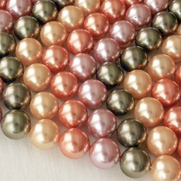 Shell Pearl 10mm Round Beads in a Meadow Mix - approx. 8 inch strand