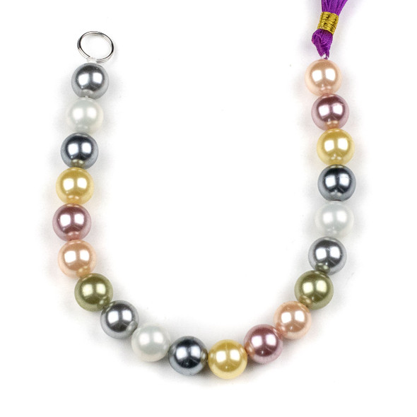 Shell Pearl 10mm Round Beads in a Spring Mix - approx. 8 inch strand