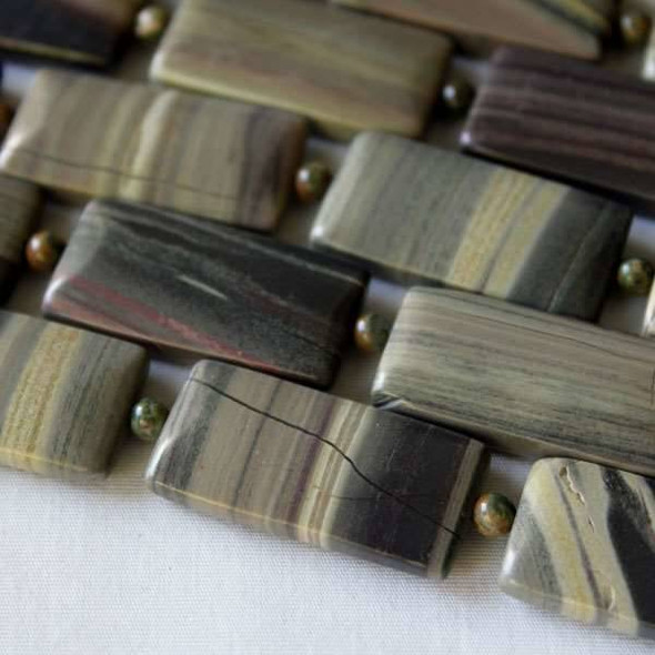 Silver Mist Jasper 15x30mm Rectangle - approx. 8 inch strand