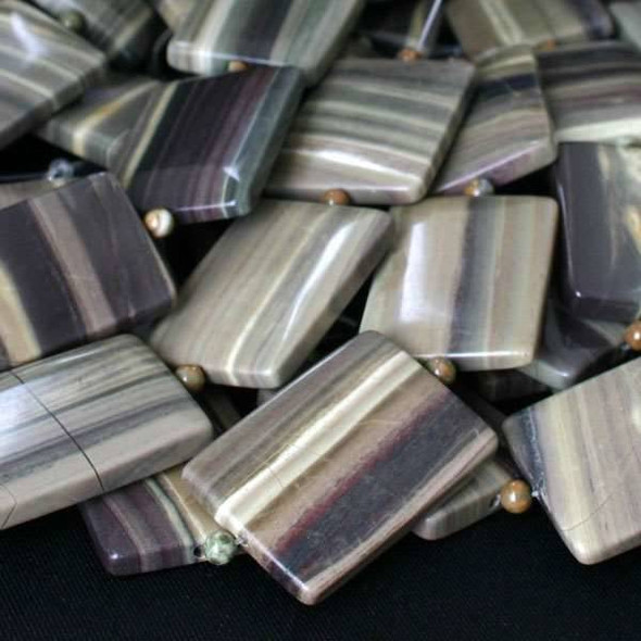 Silver Mist Jasper 25x35mm Rectangle - approx. 8 inch strand  5 Rectangles per Strand