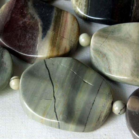 Silver Mist Jasper 20x25mm Wavy Ovals alternating with 4mm Rounds