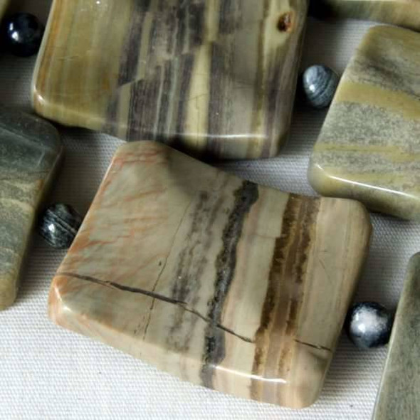 Silver Mist Jasper 20x25mm Wavy Rectangles alternating with 4mm Rounds