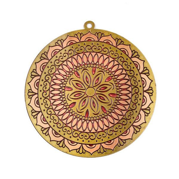 Enameled Brass 46mm Coin Focal with Copper Pink and Burgundy Flower Mandala - 1 per bag