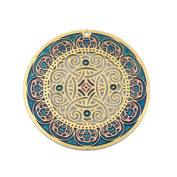 Enameled Brass 46mm Coin Focal/Finding with Blue, Rose Gold, and Cut Out Knot Design - 1 per bag