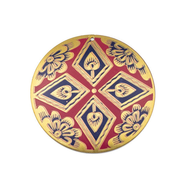 Enameled Brass 44mm Coin Focal/Finding with Red and Blue Flowers  - 1 per bag