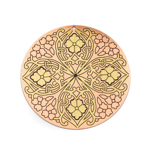 Enameled Brass 46mm Coin Focal/Finding with Rose Gold Background and Etched Flowers - 1 per bag