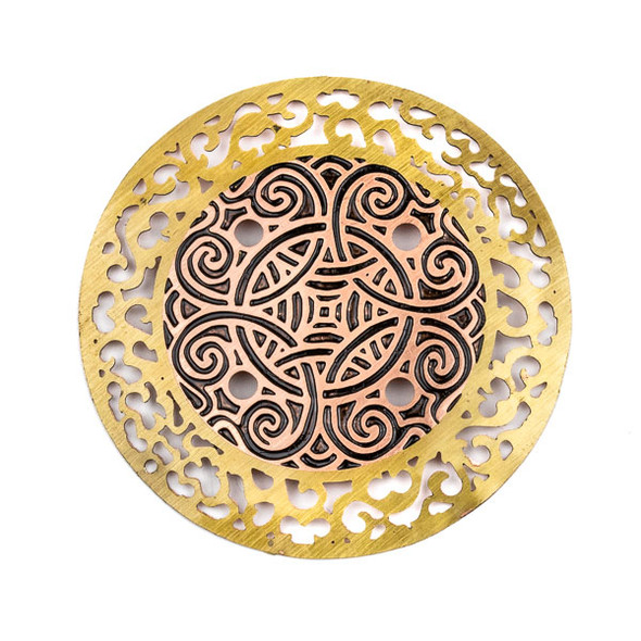 Enameled Brass 49mm Coin Focal with Cut Out Vines and Black Knot Design - 1 per bag