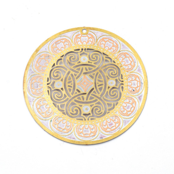 Enameled Brass 46mm Coin Focal/Finding with White and Cut Out Knot Design - 1 per bag