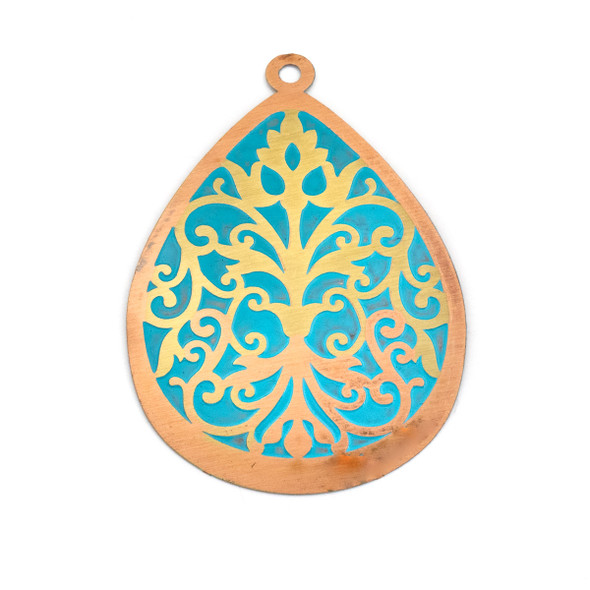 Enameled Brass 37x52mm Teardrop Focal/Finding with Turquoise Background and Victorian Vines - 1 per bag