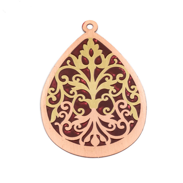 Enameled Brass 37x52mm Teardrop Focal/Finding with Red Background and Victorian Vines - 1 per bag