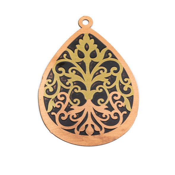 Enameled Brass 37x52mm Teardrop Focal/Finding with Black Background and Victorian Vines - 1 per bag