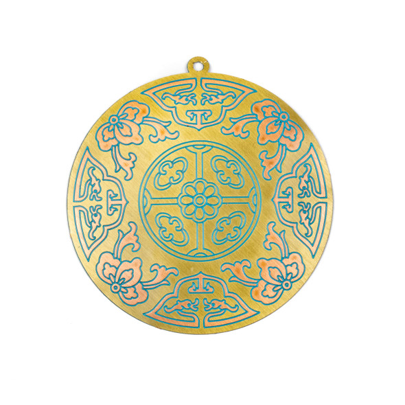 Enameled Brass 47x49mm Coin Focal/Finding with Rose Gold Flowers and Aqua Blue Lines - 1 per bag
