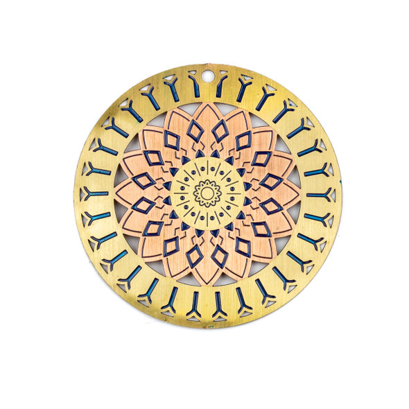 Enameled Brass 46mm Rose Gold Coin Focal/Finding with Star Flower - 1 per bag