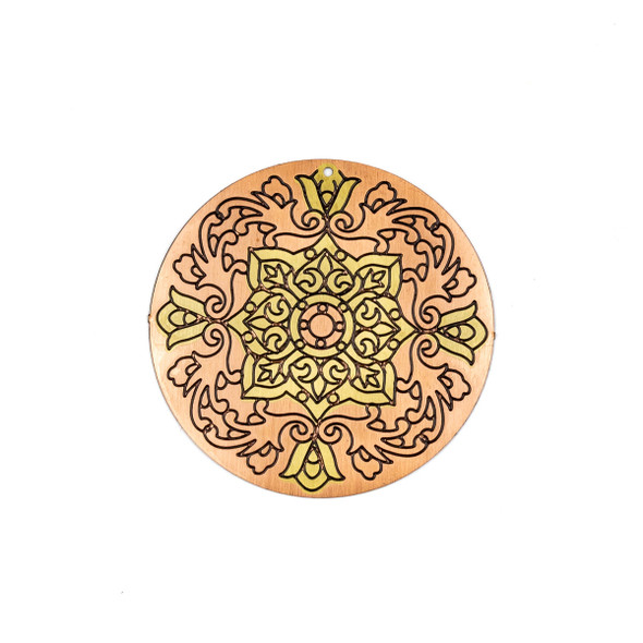 Enameled Brass 46mm Coin Focal/Finding with Rose Gold - 1 per bag