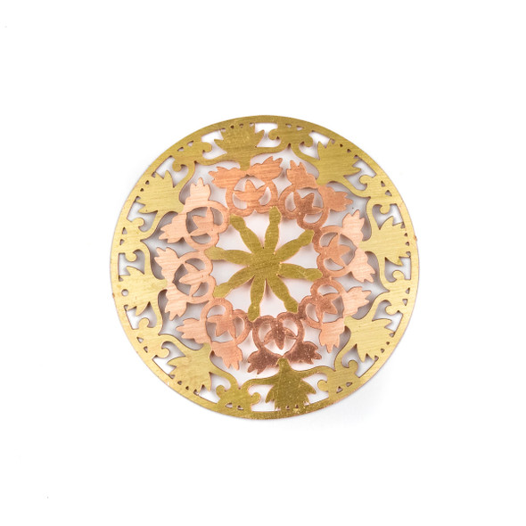 Enameled Brass 41mm Coin Focal/Finding with Rose Gold Floral Heart Cut Outs - 1 per bag