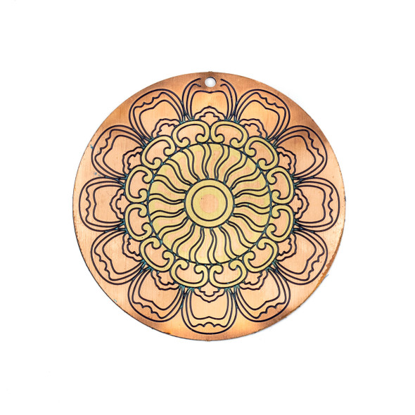 Enameled Brass 46mm Rose Gold Coin Focal/Finding with Navy Blue Flower - 1 per bag