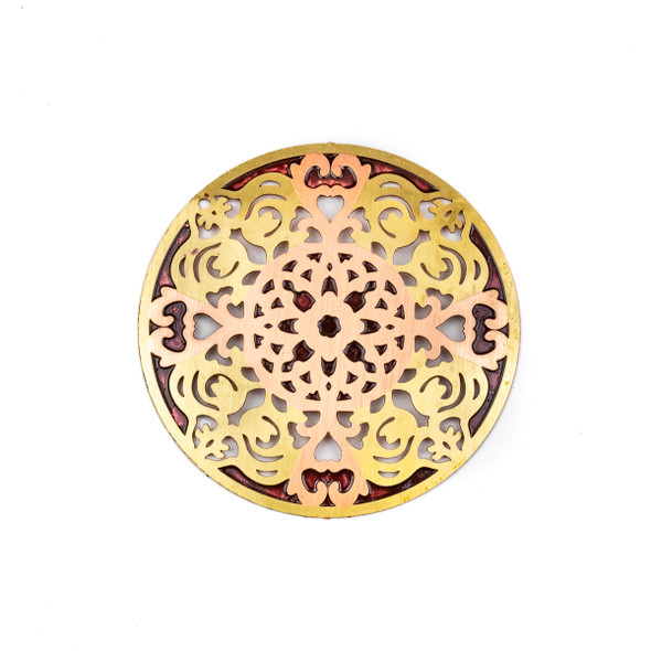 Enameled Brass 41mm Coin Focal/Finding with Rose Gold and Red - 1 per bag