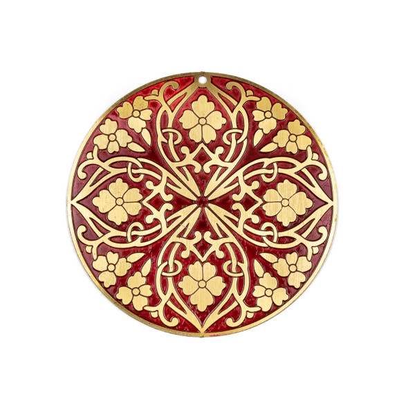 Enameled Brass 46mm Coin Focal/Finding with Red Background and Etched Flowers - 1 per bag