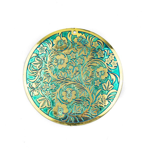 Enameled Brass 46mm Coin Finding with Turquoise Green Background, Embossed Flowers, and Vines - 1 per bag
