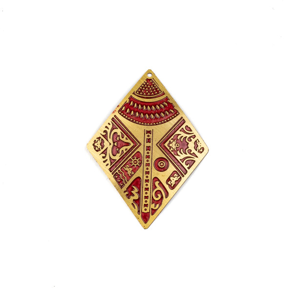 Enameled Brass 28x40mm Diamond Focal with Red Victorian Patterns - 1 per bag