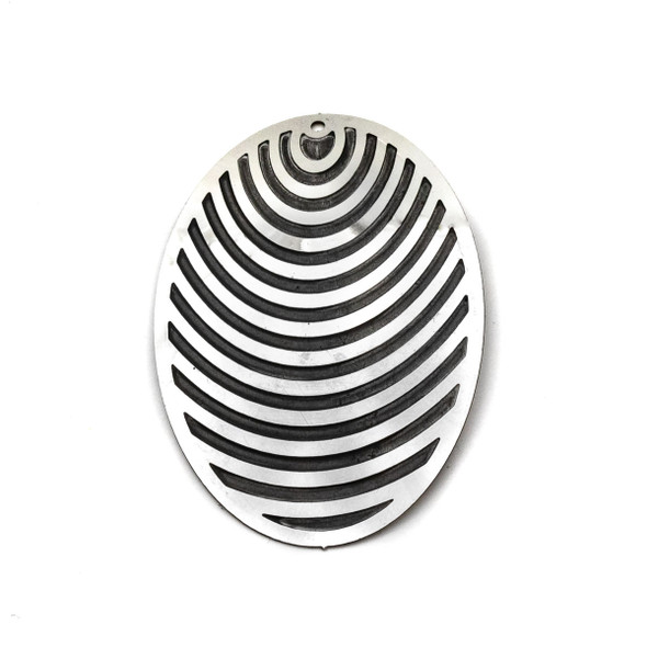 Stainless Steel 35x50mm Oval Finding with Black Stripes - 1 per bag