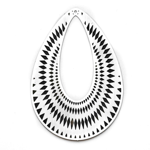 Stainless Steel 44x70mm Teardrop Finding with Black Diamond Pattern - 1 per bag