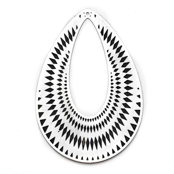 Stainless Steel 44x70mm Teardrop Finding with Black Diamond Pattern - 1 per bag