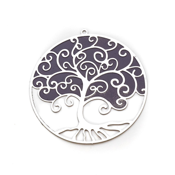 Stainless Steel 41mm Coin Finding with Purple Tree of Life - 1 per bag
