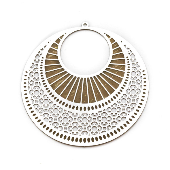 Stainless Steel 49mm Agogo Finding with Art Deco Gold Stripes and Filigree Flowers - 1 per bag