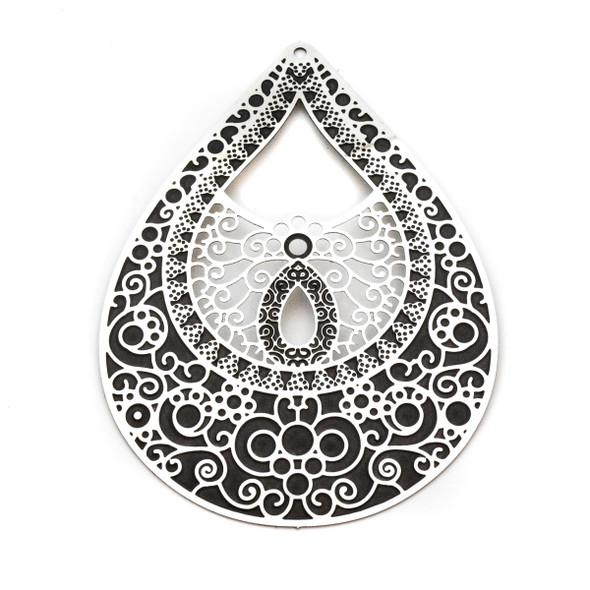 Stainless Steel 44x58mm Teardrop Finding with Black Filigree Pattern - 1 per bag