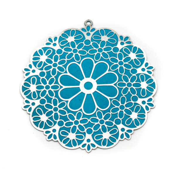 Stainless Steel 53mm Flower Finding with Turquoise Daisy Pattern - 1 per bag