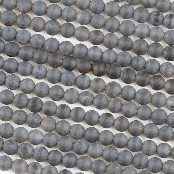 Matte Smoky Quartz 6mm Round Beads - 15 inch strand