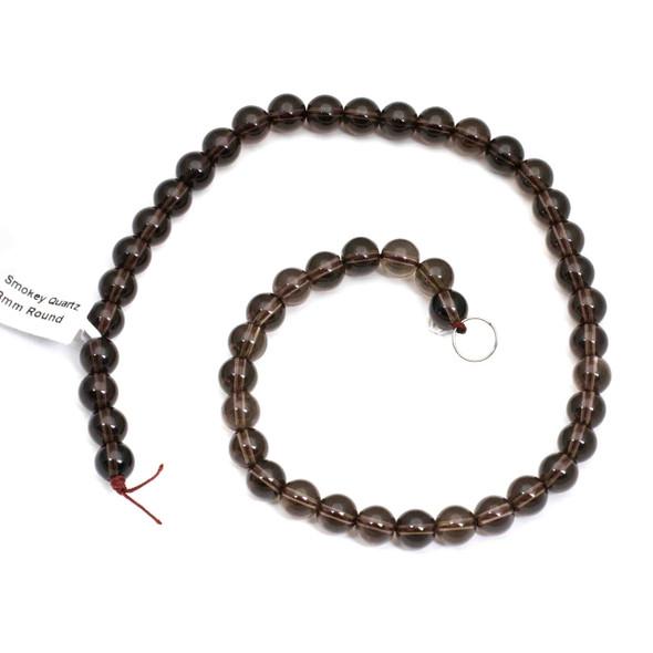 Smoky Quartz 8mm Round Beads - 16 inch strand