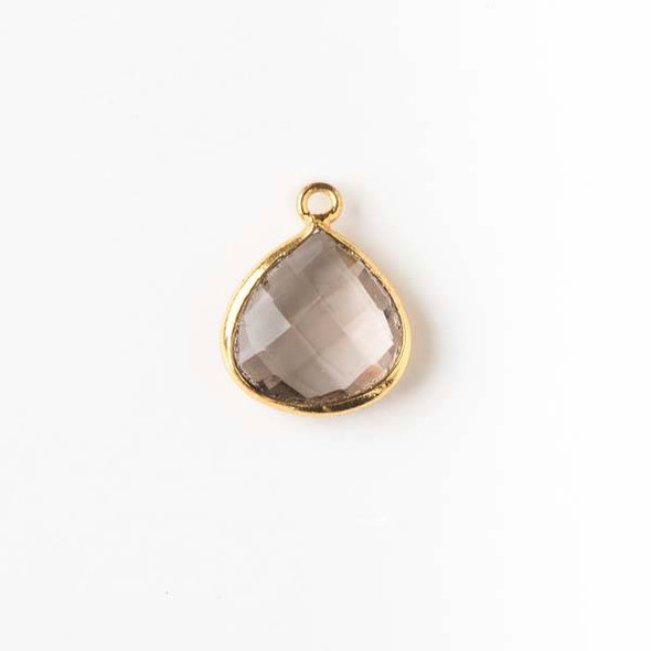Smoky Quartz approximately 13x16mm Almond Drop with a Gold Plated Brass Bezel