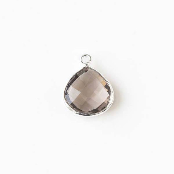 Smoky Quartz approximately 13x16mm Almond Drop with a Silver Plated Brass Bezel