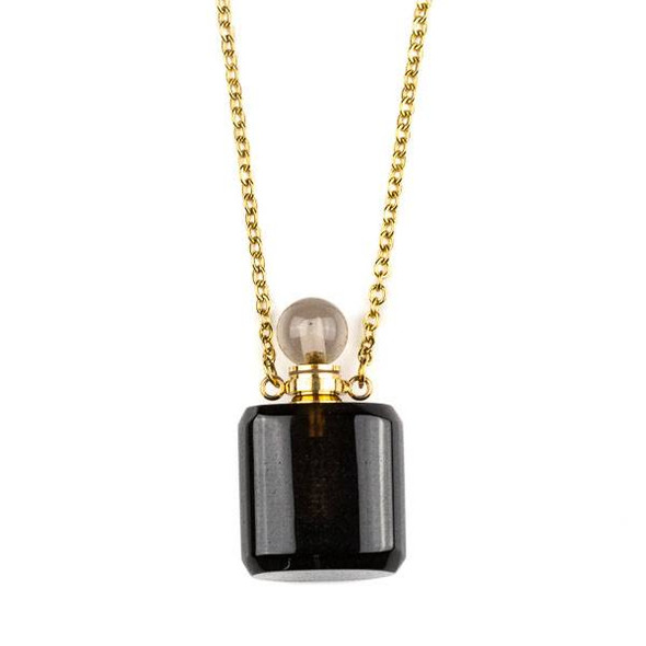 Smoky Quartz 19x34mm Rounded Square Perfume Bottle Necklace with Gold Plated Stainless Steel Chain