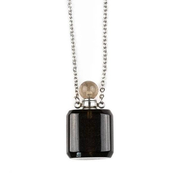 Smoky Quartz 19x34mm Rounded Square Perfume Bottle Necklace with Silver Stainless Steel Chain