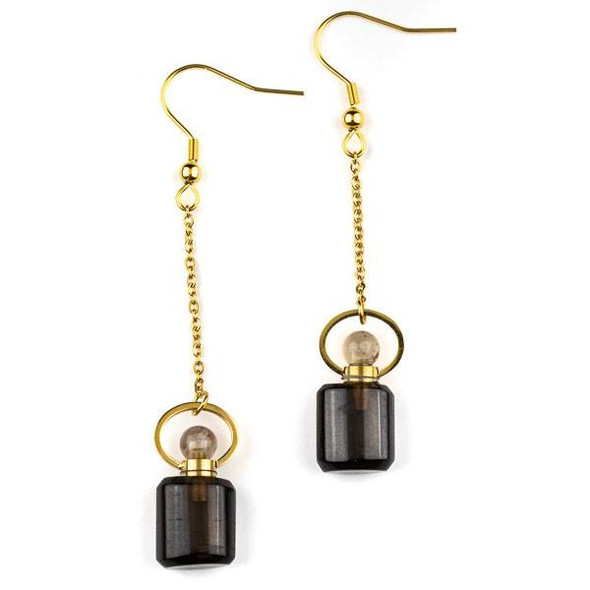 Smoky Quartz 11x19mm Rounded Square Perfume Bottle Earrings with Gold Plated Stainless Steel - 1 pair
