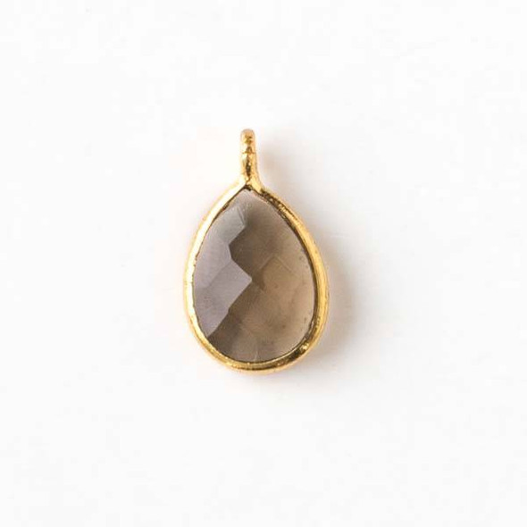 Smoky Quartz approximately 8x14mm Faceted Teardrop Drop with a Gold Plated Bezel