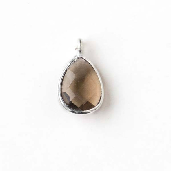 Smoky Quartz approximately 8x14mm Faceted Teardrop Drop with a Silver Plated Bezel