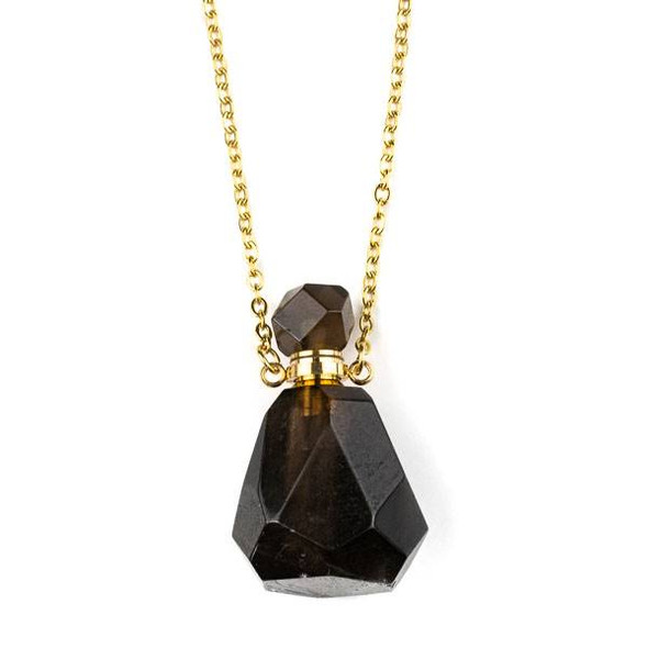 Smoky Quartz 25x39mm Faceted Perfume Bottle Necklace with Gold Plated Stainless Steel Chain