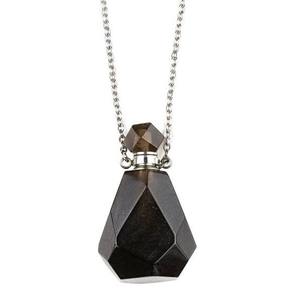 Smoky Quartz 25x39mm Faceted Perfume Bottle Necklace with Silver Stainless Steel Chain