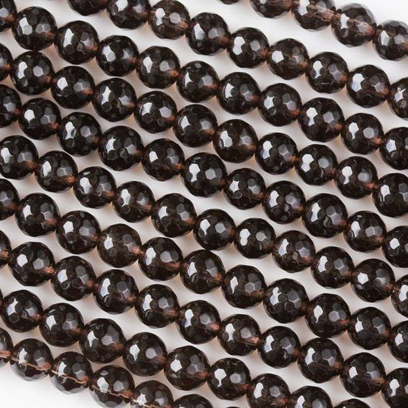 Smoky Quartz 6mm Faceted Rounds - 16 inch strand