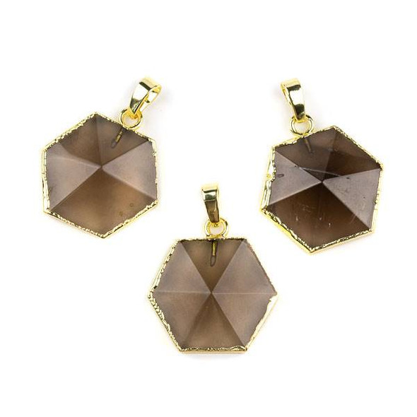 Smoky Quartz 25x35mm Hexagon Point Pendant with Gold Plated Edges and Bail - 1 per bag