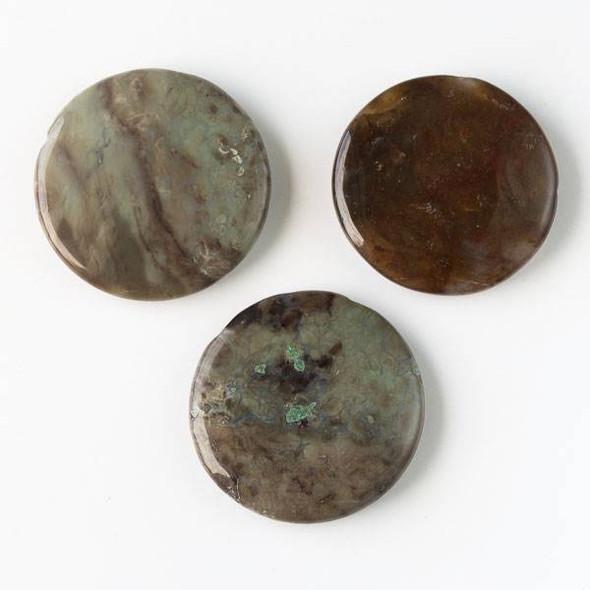 Snakeskin Jasper 45mm Top Drilled Coin Pendant