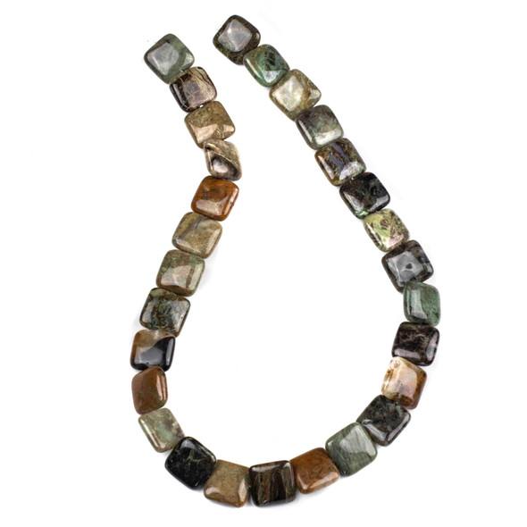 Snakeskin Jasper 14mm Square Beads - 15 inch strand