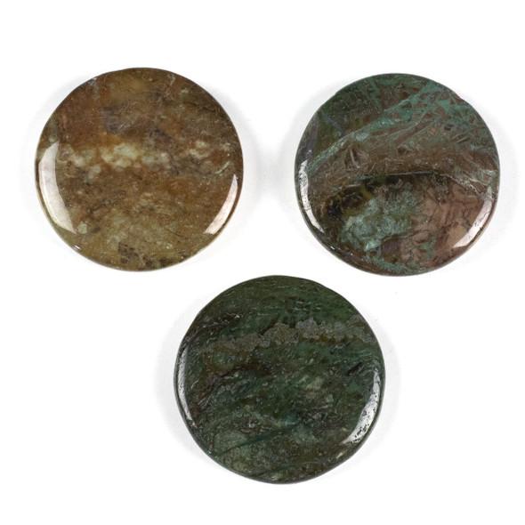 Snakeskin Jasper 44mm Top Drilled Coin Pendant - 1 per bag